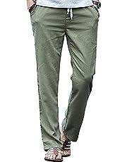 foxseonメンズ チノパン ワイドパンツ ワークパンツ ロングパンツ ゆるゆる ゴム 紐 無地 男女兼用 衣装 大きいサイズ 绿M