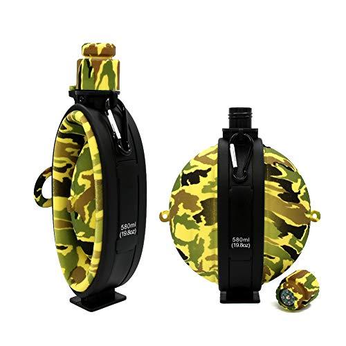 goooods Faltbare Wasserflasche Feldflasche Wasserflasche Trinkflasche - Bundeswehr Militär Army Style mit Kompass, BPA frei, 580 ml (Gelb)