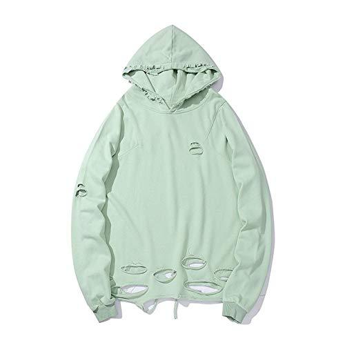 YDMZMS Merk Gaten Trui Hoodies Heren Hipster Mode Hooded Shirts Draag Tops XL Licht Groen