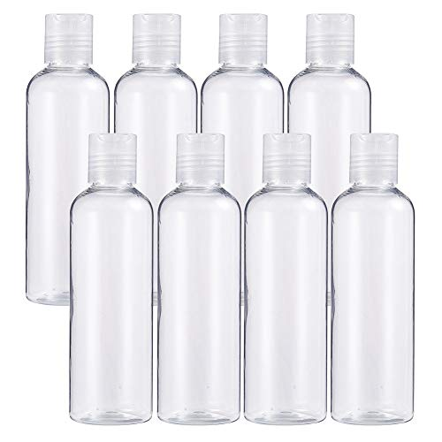 BENECREAT 8 Pack 6.7oz PET Plastic Bottles Clear Refillable Bottles with Press Disc Flip Cap for Shampoo, Lotions, Creams