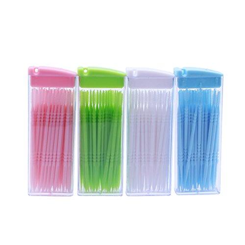 Supvox Interdentalbürsten Doppelkopf Zahn Zwischenraum Bürsten Zahnpflege Dentalbürsten Zahnreinigungswerkzeug mit Box 200 Stück (Zufällige Farbe)
