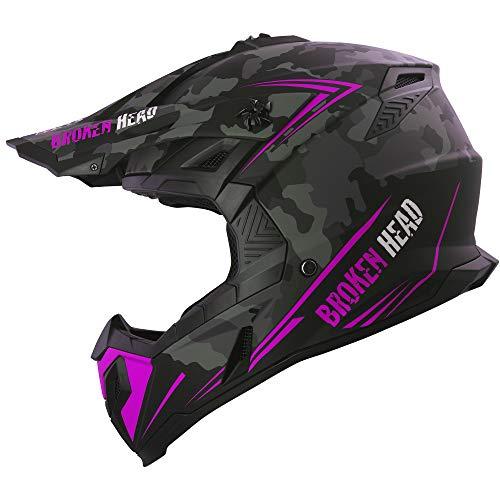 Broken Head Squadron Rebelution Camouflage Grau Pink - MX Motocross Helm - Quad-Helm - Sumo-Helm (M (57-58 cm))