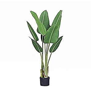 Realistic Faux Plants 3.9Ft Fake Banana Tree, Artificial Bird of Paradise Plant 120cm for Indoor Outdoor, Large Potted Greenery Plants for Home, Office, Lobby Decor