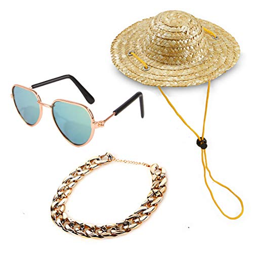 YESSART Pet Dog Cat Costume Fashion Sunglasses Gold Chain Collar Hat Set of 3
