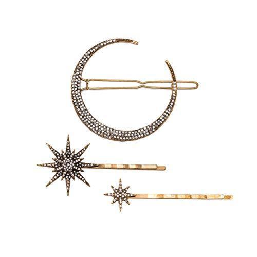 Frcolor 3pcs Vintage Haarnadel Strass Mond Schneeflocke Star Haar Clip Bobby Pin Haarspange Haarschmuck für Frauen Mädchen