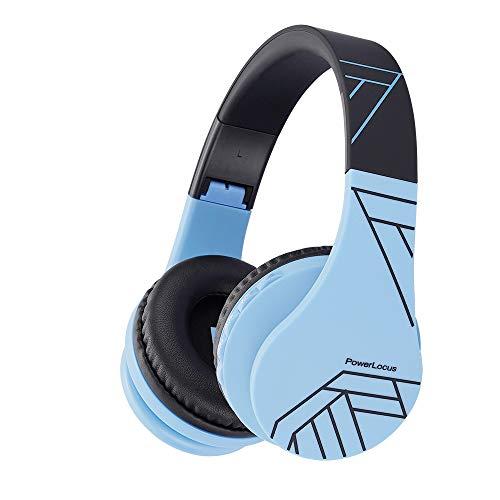 Kinder Kopfhörer mit Mikrofon, PowerLocus Kinderkopfhörer Bluetooth Over-Ear mit 85DB Lautstärkebegrenzung, Kopfhörer kabellos und mit Kabel,Faltbare & Einstellbare,weiche Ohrpolster für Handys,Tablet