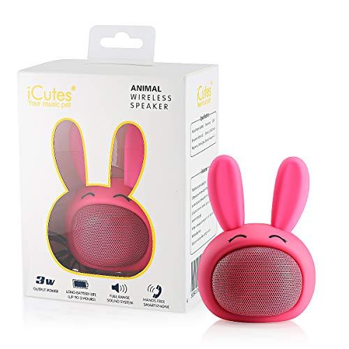 HUGMO Pink Bunny Altavoz portátil Bluetooth Compacto, batería Recargable USB, micrófono Integrado