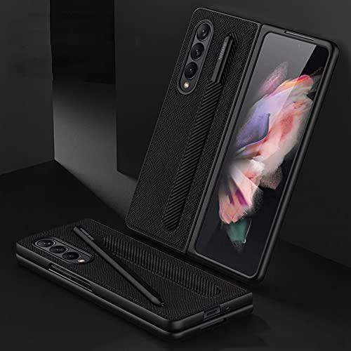 SHIEID Samsung Fold 3 etui z uchwytem na długopis S, Galaxy Fold 3 5G etui skórzany uchwyt etui na telefon kompatybilne z Samsung Galaxy Z Fold 3 5G, wzór krzyża
