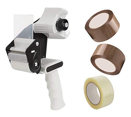 Precintadora Profesional de Embalar - Incluye Pistola Dispensador de Cinta Adhesiva + 3 rollos Precinto (2 marrón + 1 transparente)