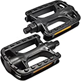 MARQUE Bike Pedals – Bicycle Pedals with 9/16 Inch Boron Steel Spindle with Reflector and Flat Body - Works on E-Bike, City, Urban Commute, Road Bikes - Replacement Cycling Pedals (1/2')