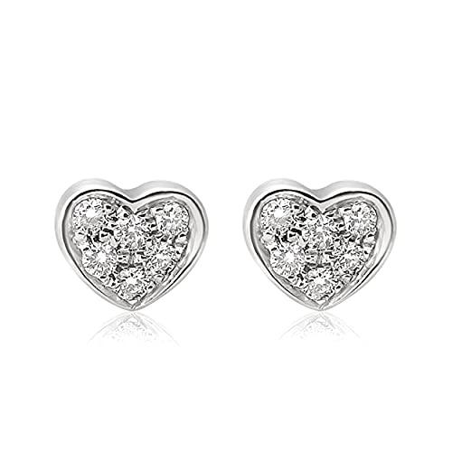 MILLE AMORI ∞ Pendientes para mujer oro y diamante ∞ oro blanco de 9 quilates 375  Diamantes 0.09 quilates ∞, dorado., Diamond,
