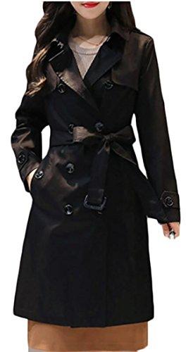 omniscient Women Slim Trench Winter Coat Long Jacket with Belt black XL