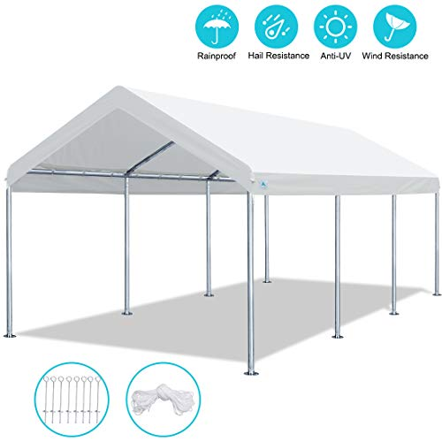 ADVANCE OUTDOOR 10 x 20 FT Heavy Duty Carport Car Canopy Garage Shelter Party Tent, Adjustable Height from 6ft to 7.5ft, White