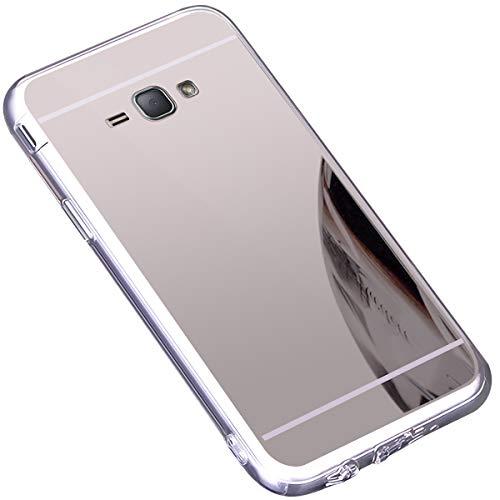 Surakey Cover Samsung Galaxy J1 2016, Effetto Specchio Custodia in Silicone Brillante Colore di Placcatura Mirror Case Antiurto TPU Bumper Ultra Sottile Protettiva Cover per Galaxy J1 2016,Argento
