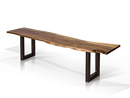 moebel-eins GERA Sitzbank, Material Massivholz/Metall, Akazie lackiert, 140 cm