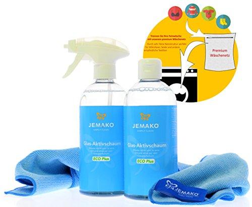 Jemako Glas-Aktivschaum ECO Plus 1000 ml (2 Flaschen á 500 ml) inkl. Profituch BLAU (40 x 45 cm), Schaumpumpe & Sinland feinmaschiges Wäschenetz