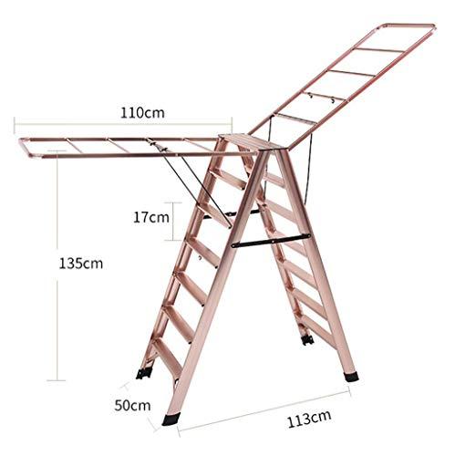 GWXSST Telescopische ladder, multifunctioneel wasrek, dubbel gebruiksdoel, visgraadladder, opvouwbare huishoudbalkon-droogladder, aluminiumlegering, 7 treden ladder