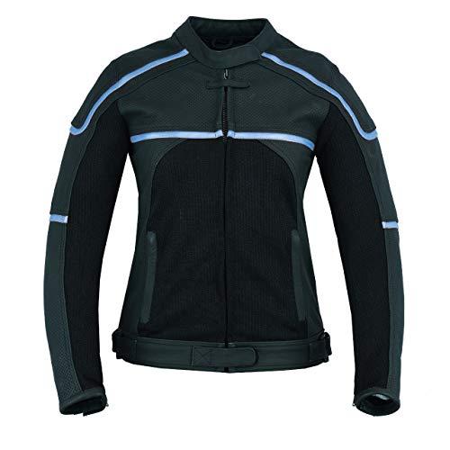 JET Chaqueta Moto Cuero Mujer Textil Cuero Premium Ventilación con Protecciones CARMEN (XL (ES 42), Negro/Azul)