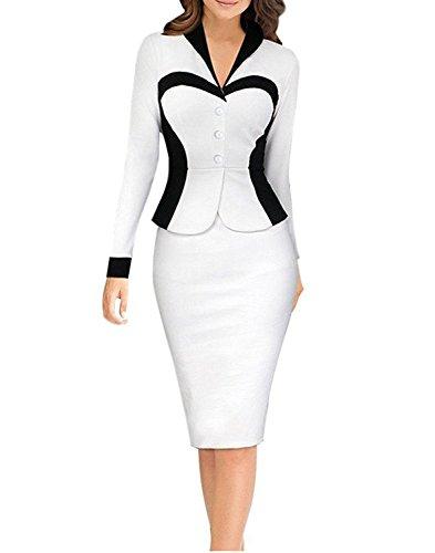 Minetom Donne Elegante A-Line Vestito Ol Professionale Vestito Estate Partito Vestito Un Pezzo (IT 44, Bianco A)