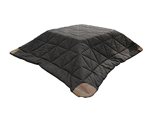 AZUMAYA KK-109 Kotatsu Futon Square Shape, Dark Brown Polyester Fabric Material and Synthetic Leather Corner Finish, W75.0 x D75.0 Inches, Home and Living