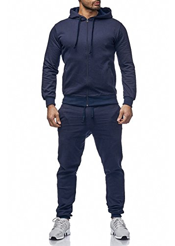 Uni Colour Herren Jogging Anzug Jacke Sport Hose Fitness Hoodie Hose Einfarbig Navyblau M