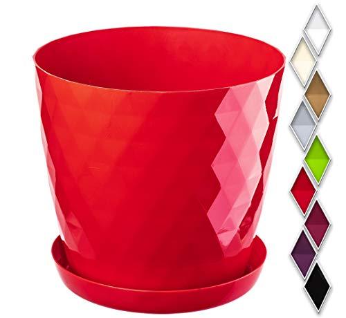 KADAX Maceta para Flores y Plantas con platillo, Material Ligero y Resistente, una Maceta Decorativa para Plantas (⌀ 16cm, Rojo)