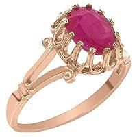英国製(イギリス製) K18 ピンクゴールド 天然 ルビー レディースソリティア リング 指輪 各種 サイズ あり