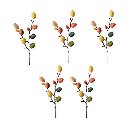 Abaodam 5 ramas de huevos de Pascua decoraciones elegantes de bricolaje adornos de Pascua para el hogar, sala de estar y centro comercial (colorido)