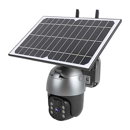 Cámara de vigilancia 1080P 4G con panel de suministro de energía solar, cámara de video con giro/inclinación, cámara IP PTZ CCTV impermeable IP66, alarma de detección de movimiento de modo dual(EU)