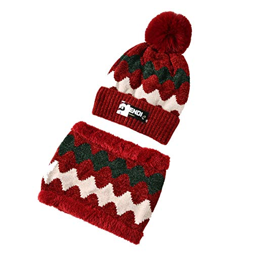 Beanie Snood Scarf Woman Pompom Beanie Winter Warm Knit Beanie Hat Tube Scarf Fleece Lining Circle Scarf for Woman, Hat for Girls (Color : Red, Size : 46-65cm)