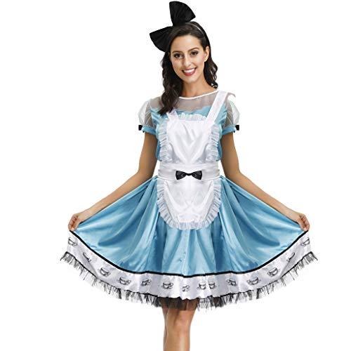FNKDOR Dirndl Damen 3 Teilig Knielang Spitze Trachtenkleid mit Weiße Schürze und Bogen Haarschmuck Blau XL