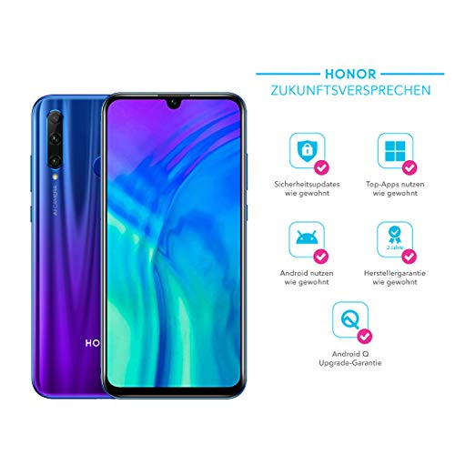 Honor 20 Lite 128 GB Smartphone BUNDLE mit 32MP AI Selfie Kamera (6,21 Zoll), AI Triple Kamera, Dual-SIM, Android 9.0) Phantom Blue + gratis Flip Cover [Exklusiv bei Amazon] - Deutsche Version