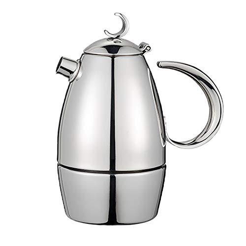 Caffettiera espresso italiana, piano cottura a induzione Moka in acciaio inossidabile Caffettiera in acciaio inossidabile 4 tazze, per piano cottura a induzione, parete addensata, per casa e ufficio