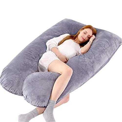TYUXINSD Acogedor Almohada de la Almohada de Embarazo en Forma de U, Almohada del Cuerpo de Embarazo, Almohada de Maternidad para Dormir de Lado, con Cubierta extraíble con Cremallera de algodón 100%
