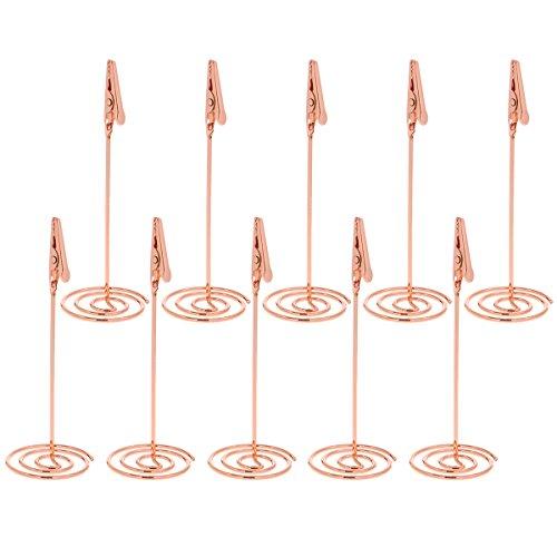 STOBOK - Soporte para Tarjetas de Mesa, con Clip, 115 mm, 10 Unidades, Color Oro Rosa