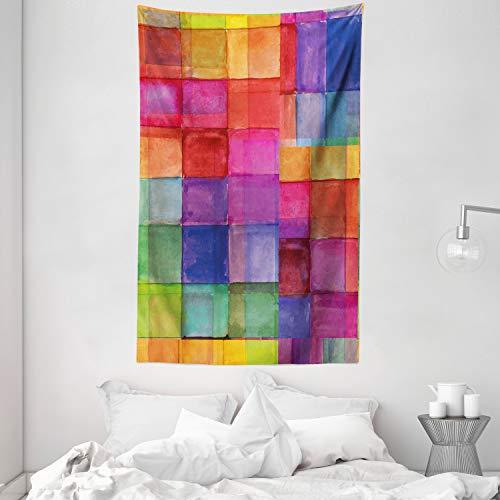 ABAKUHAUS Abstrakt Wandteppich & Tagesdecke Regenbogen-Farben-Quadrateaus Weiches Mikrofaser Stoff 140 x 230 cm Dreck abweichend Multicolor
