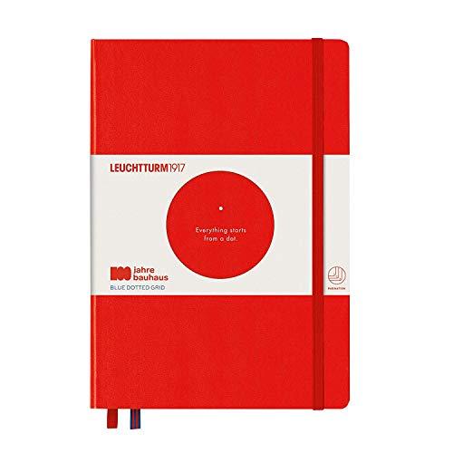 LEUCHTTURM1917 359619 Notizbuch Medium (A5), Hardcover, 251 nummerierte Seiten, Rot, bauhaus 100
