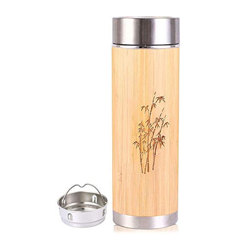 PagKis Bamboo Stainless Steel Flask Water Bottle/Thermos with Tea Strainer | Double Wall Vacuum Insulated | Hot & Cold (450 ML)