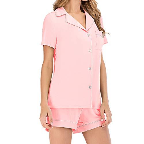 MEISI - Conjunto de pijama para mujer, tejido de algodón, cuello en V, manga corta, botones + pantalones, para ocio en casa Rosa 01 M