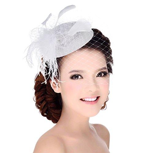 DEMU Damen Elegante Feder Fascinator Haarklammer Hochzeit Cocktail Netzschleier Mini-Hut Weiß