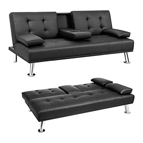 JUMMICO Futon Sofa Bed Faux Leather Couch Bed Modern Convertible Folding Recliner with 2 Cup Holders for Living Room (Black)