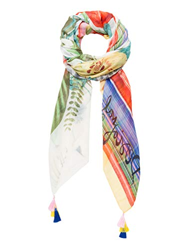 Desigual Rectangle Foulard Clio Woman White Echarpe, Blanc (Crudo V 1002), taille unique Femme