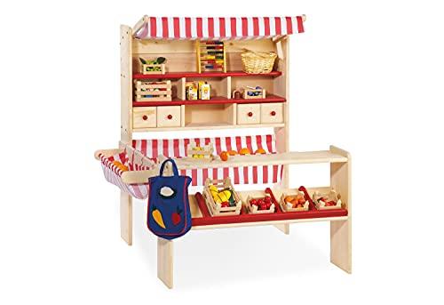 Pinolino Marktstand Lucy, massives Holz, besonders standfest, Tresen rechts oder links montierbar, für Kinder ab 2 J, rot