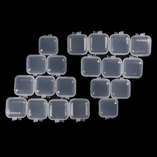 SKYVII - Contenitori quadrati in plastica trasparente con coperchio, 20 pezzi