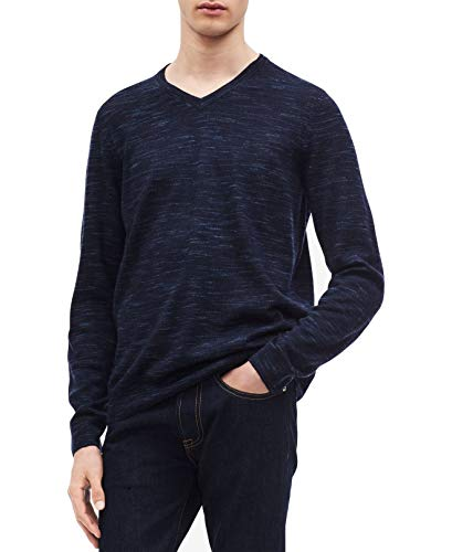 Calvin Klein Men's Space-Dyed V-Neck Sweater (Blues, XX-Large)