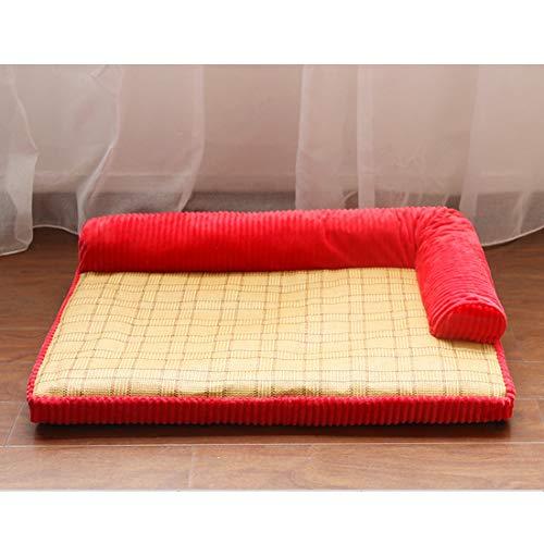 Leilei - Sofá cama para perro de espuma de memoria sólida y suave terciopelo de ratán desmontable y lavable para cuatro estaciones, cojín universal para mascotas, color rojo, S
