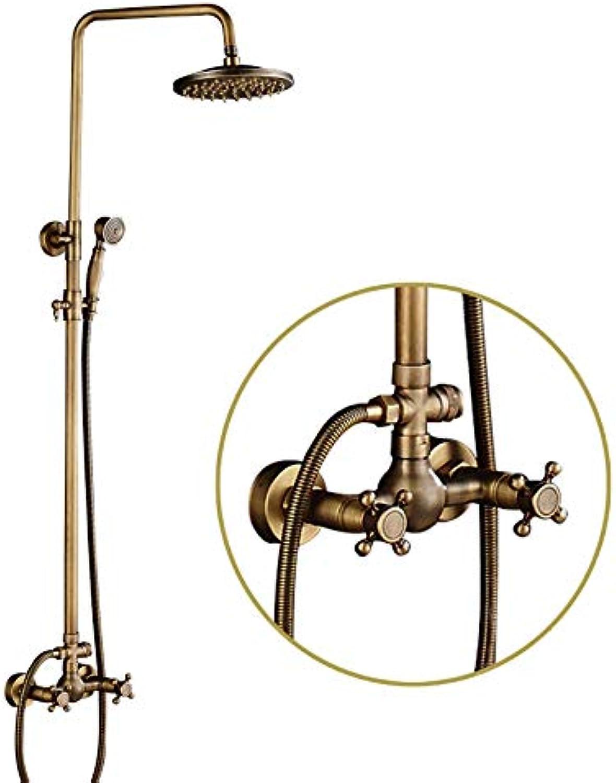 Suguword Messing Duschsystem überkopfbrause Regendusche Duschset Handbrause Duschkopf Vintage Design Golden