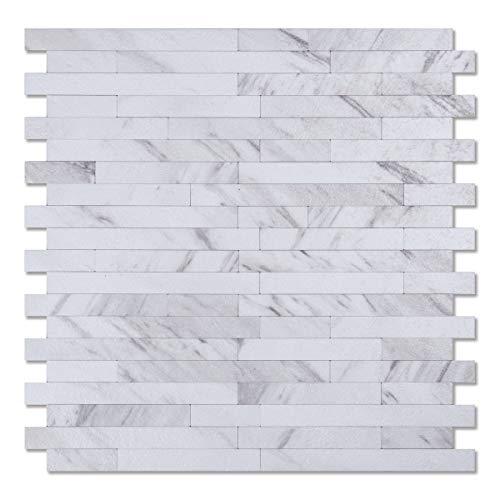 Art3d 10-Sheet Easy DIY Backsplash Tile Peel and Stick for Kitchen Bathroom - Granite White