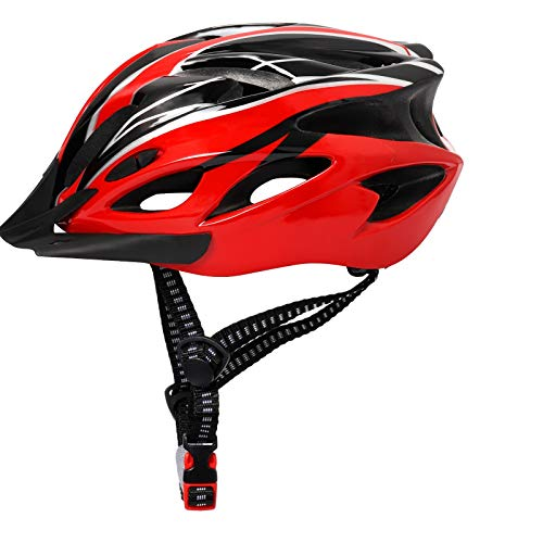 Adult Bike Helmet Men Women Lightweight Mountain Bike Helmet Cycling Helmet with Detachable Sun Visor and Pad LiningRed Black