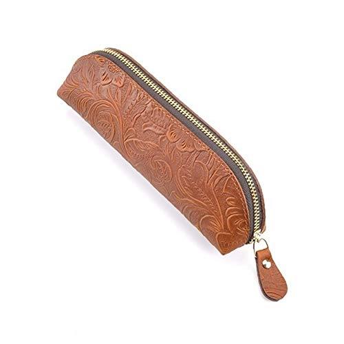 Bolsa de bolígrafo con cremallera de cuero genuino Bolsa de bolsas Pequeño Maquillaje de viaje Cosmético Bolsas de lápiz Bolsas de lápiz Caja de lápiz simple (color: verde, Tamaño: 180x50x55mm) LNNDE